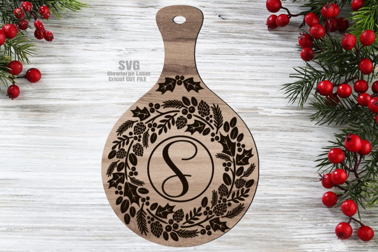 Monogram Christmas Wreath Cutting Board SVG Glowforge Files example image 1