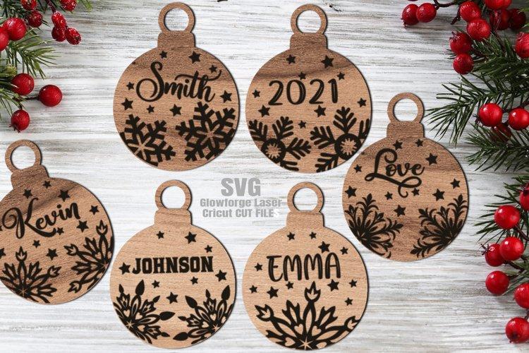 Monogram Christmas Ornament SVG Glowforge Files Bundle example image 1