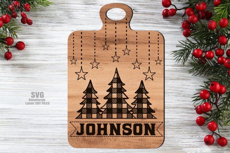 Monogram Christmas Tree Cutting Board SVG Glowforge Files example image 1