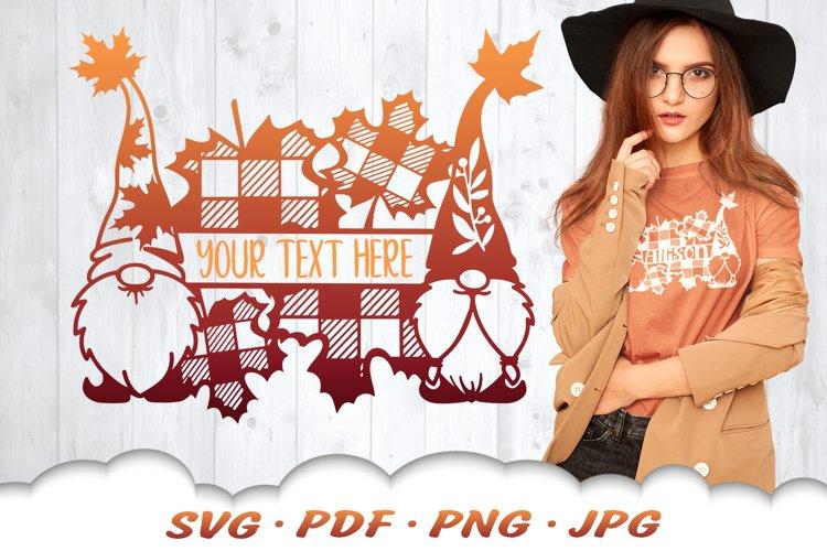 Fall Garden Gnome Monogram SVG Cut Files example image 1