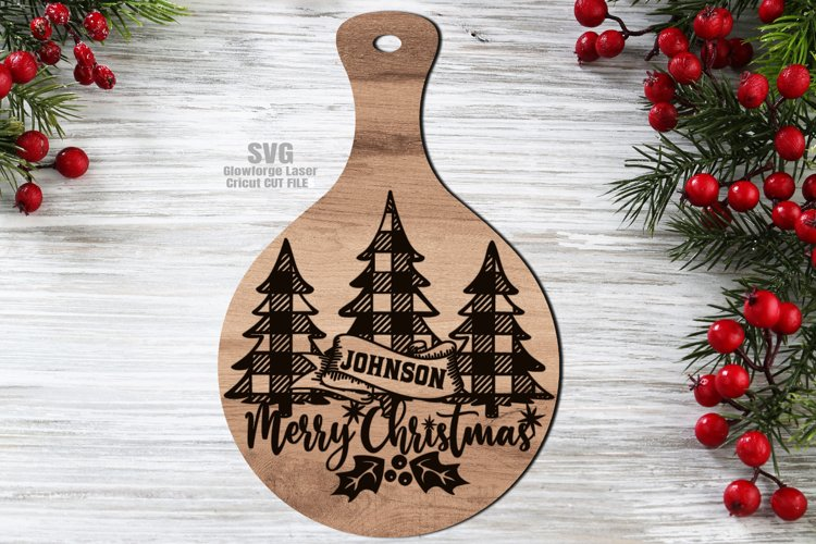 Monogram Christmas Cutting Board SVG Glowforge Files Sign example image 1