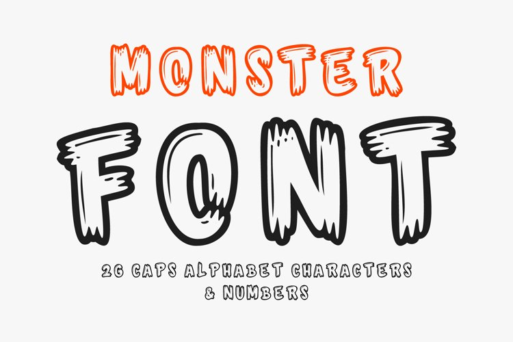 Monster Font - 26 CAPS Alphabet Characters & Numbers example image 1
