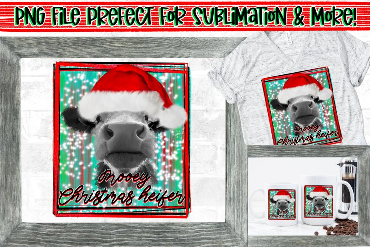 Mooey Christmas Heifer/Cow Design PNG File Sublimation example image 1