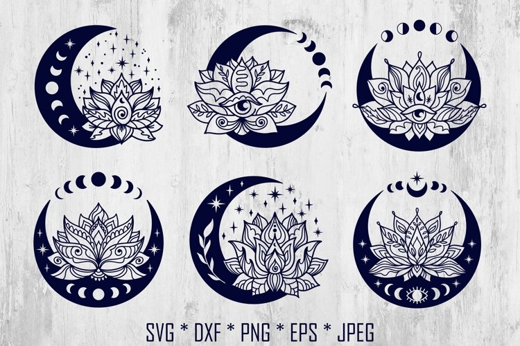 Moon and Lotus Flower svg bundle. Mystical tattoo designs.