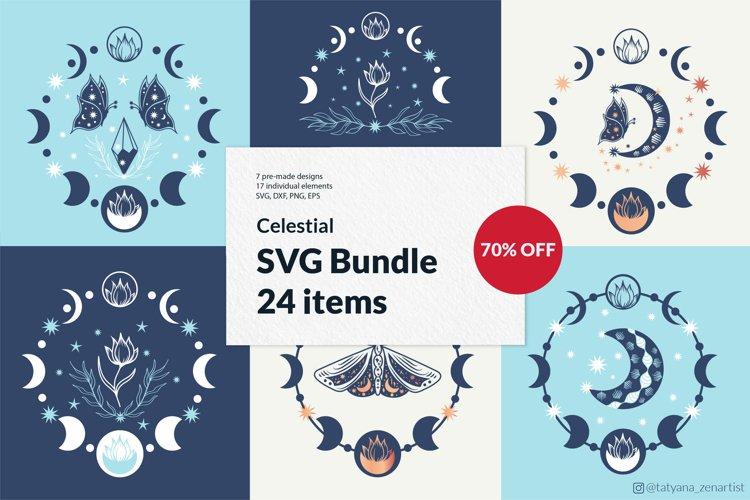 Moon phase SVG bundle, boho butterfly svg, crescent moon svg