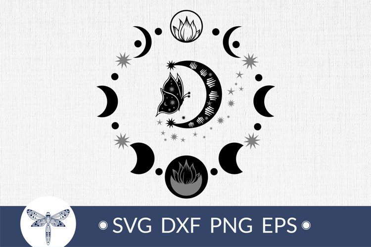 Moon phases with butterfly svg, Bohemian crescent moon SVG