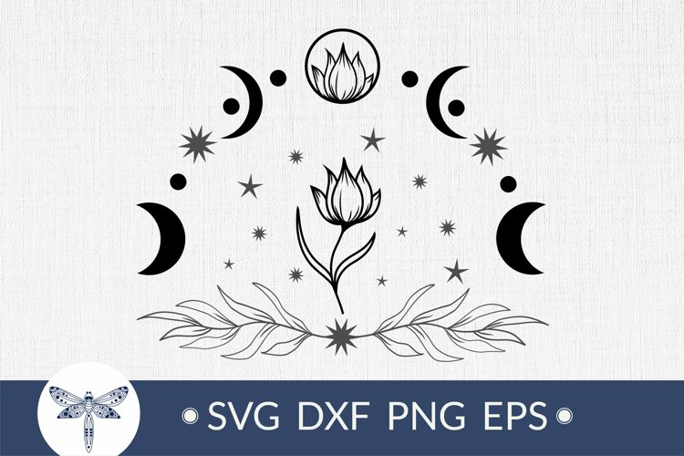 Moon phases with flower svg for cricut