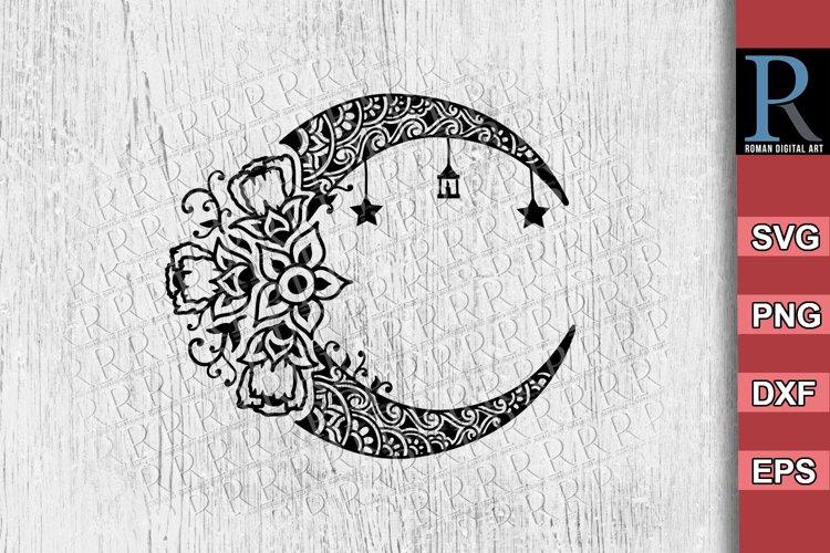 Mandala Moon SVG File, Zentangle Moon Dreamcatcher Cricut example image 1