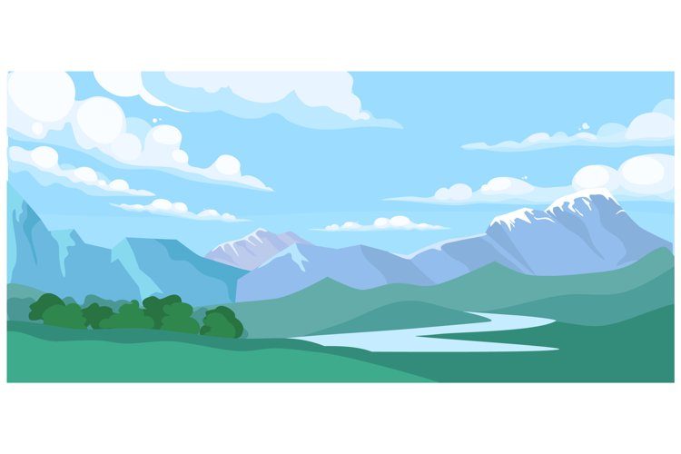 Mountain landscape with forest and river water stream example image 1
