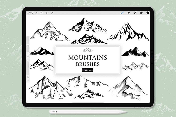 Procreate Stamp Brushes - set of 12 Mountains Brushes