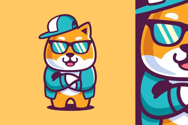 Cartoon Cool Shiba Inu Wear Sunglasses