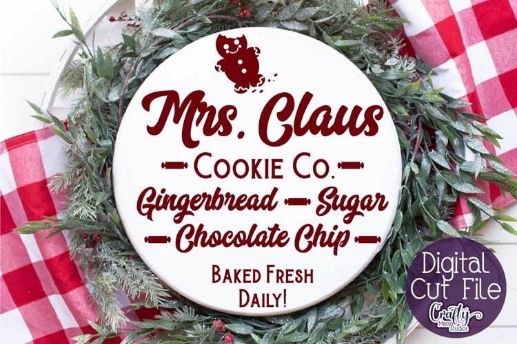 Christmas Svg, Mrs. Claus Cookie Co., Round Christmas example image 1