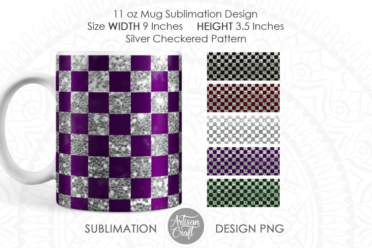 Mug design template with silver checkered pattern
