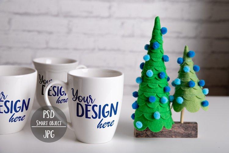 White Mug Christmas Mockup with Smart Object, Christmas Tree