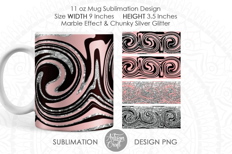 Mug sublimation template with beige and black fluid art