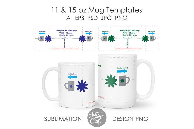 11 oz mug template, 15 oz mug template