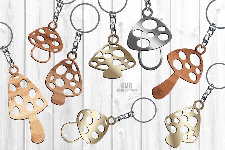 Mushroom Keychain SVG Glowforge Necklace Laser Cut Files example image 1