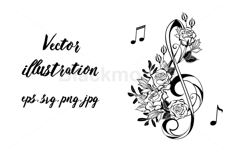 Musical Clef with Outline Roses