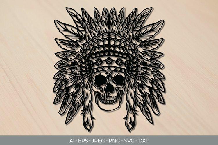 Native American Skull Papercut SVG example image 1