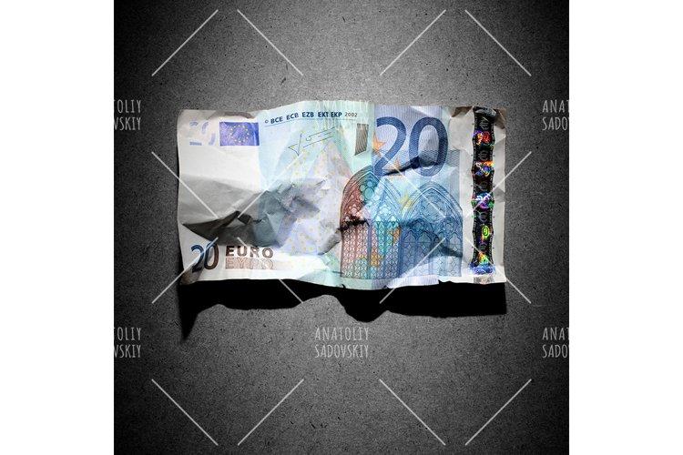 Financial crisis concept - crumpled 20 euro banknote