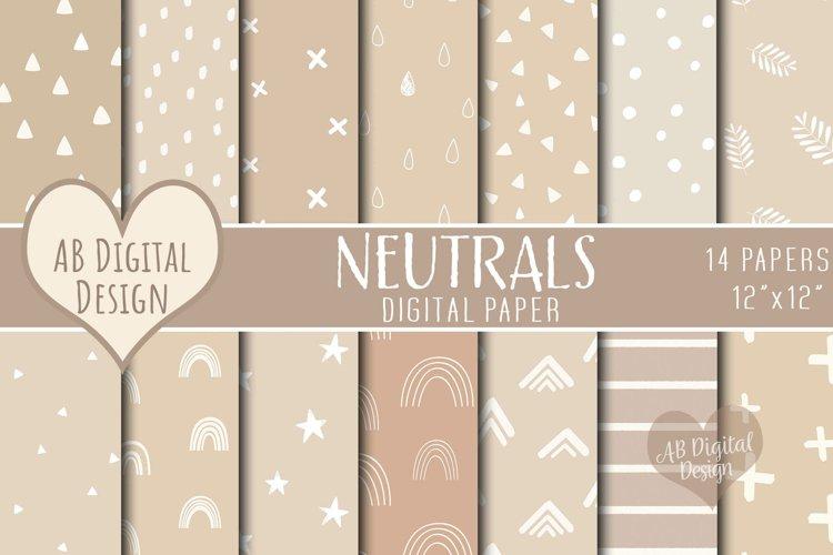 Neutral Digital Paper, Baby Shower, Boho Scandi Patterns