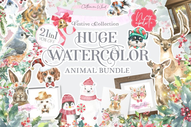 21in1 Watercolor Animals Bundle Sale, Woodland Animals
