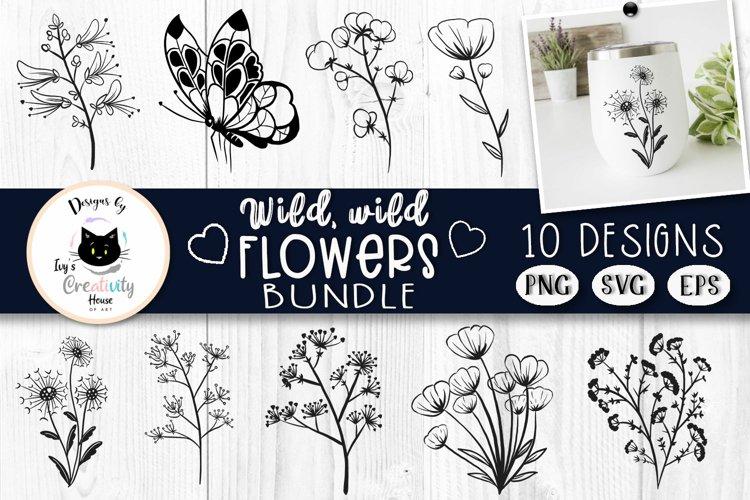 Black and White Flowers Clipart   Floral SVG Bundle