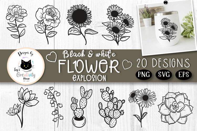 Black And White Floral Clipart   Wildflower SVG Bundle