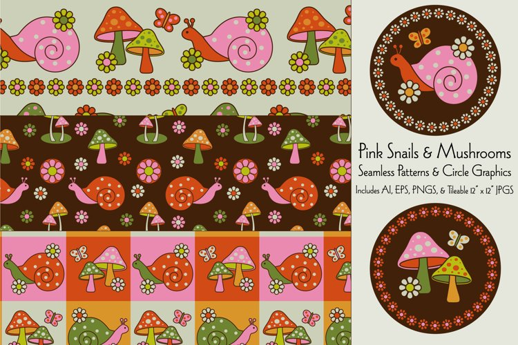 Pink Snail & Mushroom Patterns & Graphics