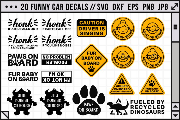 Funny car decals SVG | 20 car decal SVG files
