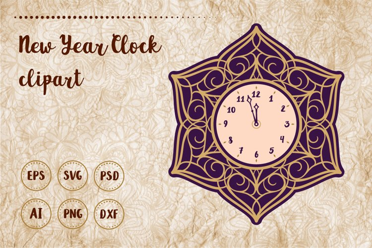New Year clock clipart example image 1