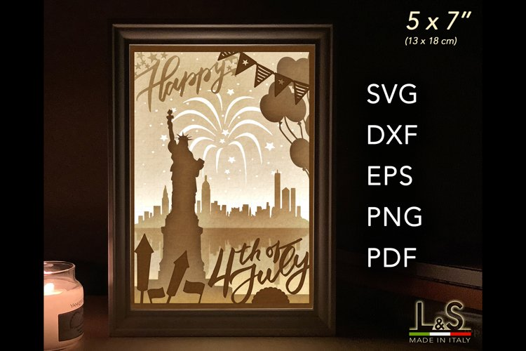 4th of July Layered svg Shadow Box Independence Day Lightbox