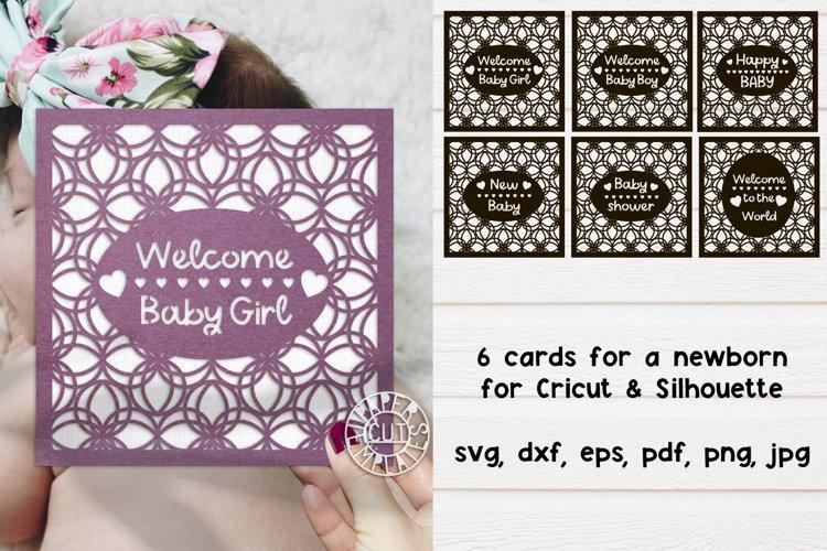 SVG 6 Newborn Cards Set for Silhouette & Cricut