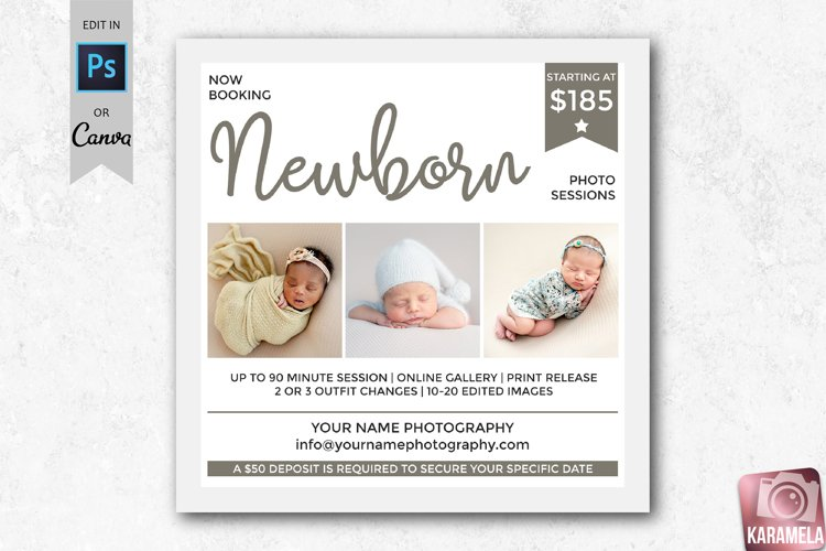 Newborn Photo Sessions Template for Photographers