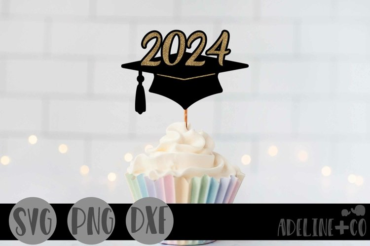 2024 Graduation cap, Cake topper, SVG, PNG, DXF example image 1