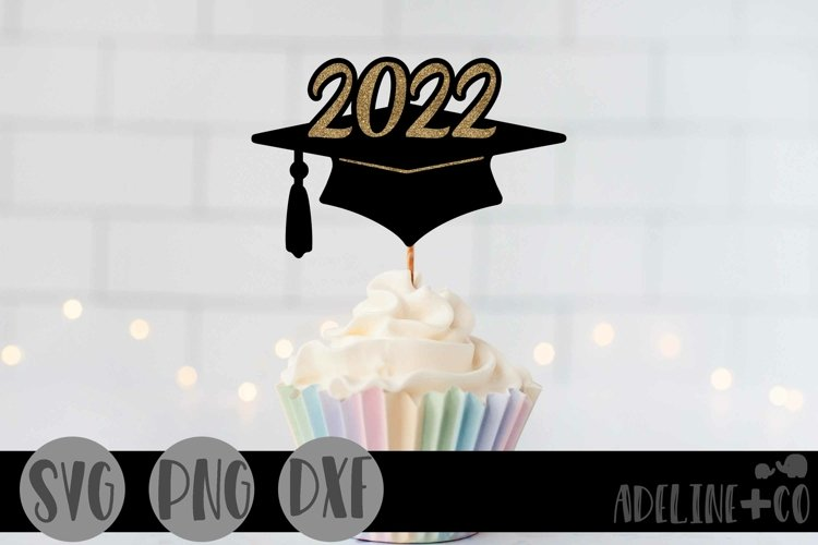 2022 Graduation cap, Cake topper, SVG, PNG, DXF example image 1