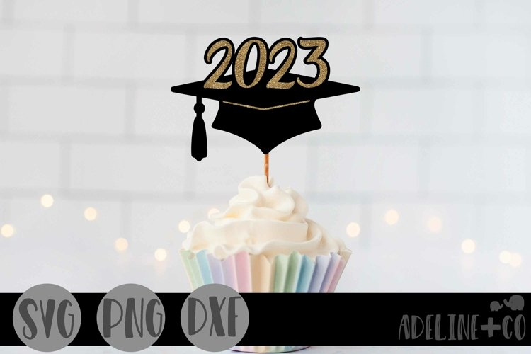 2023 Graduation cap, Cake topper, SVG, PNG, DXF example image 1