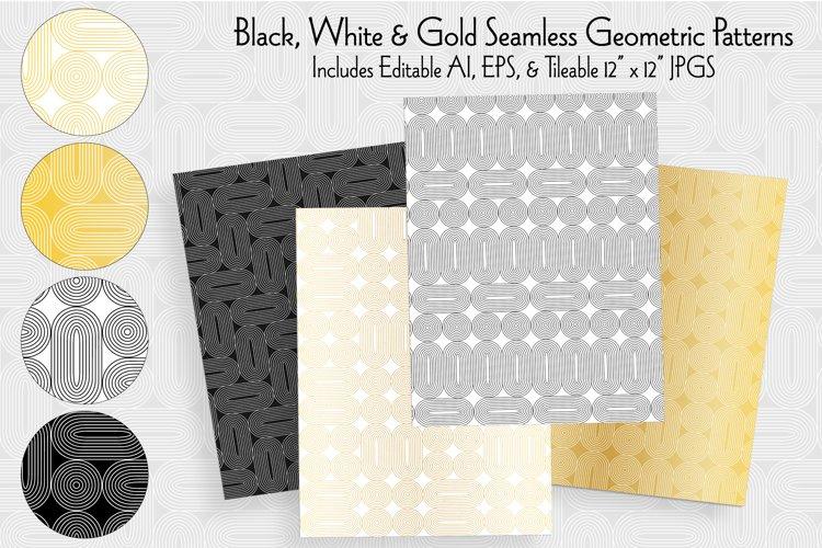 Black White Gold Seamless Geometric Patterns