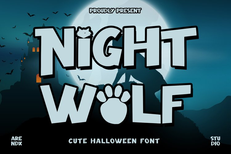Night Wolf - Cute Halloween Font example image 1