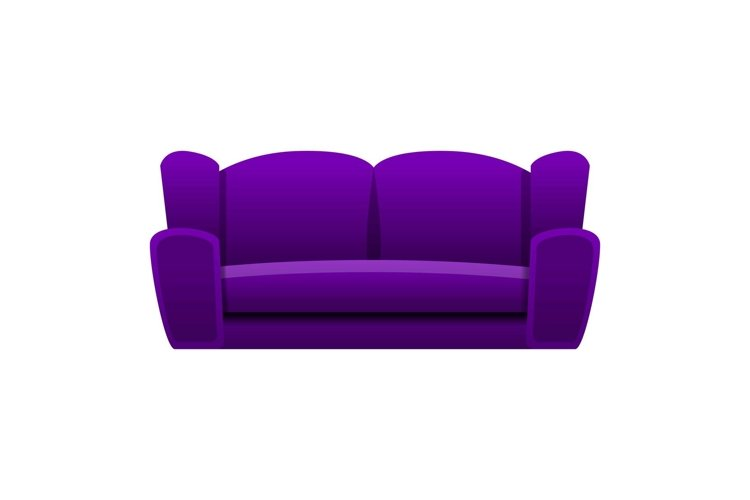 Purple sofa icon, cartoon style example image 1