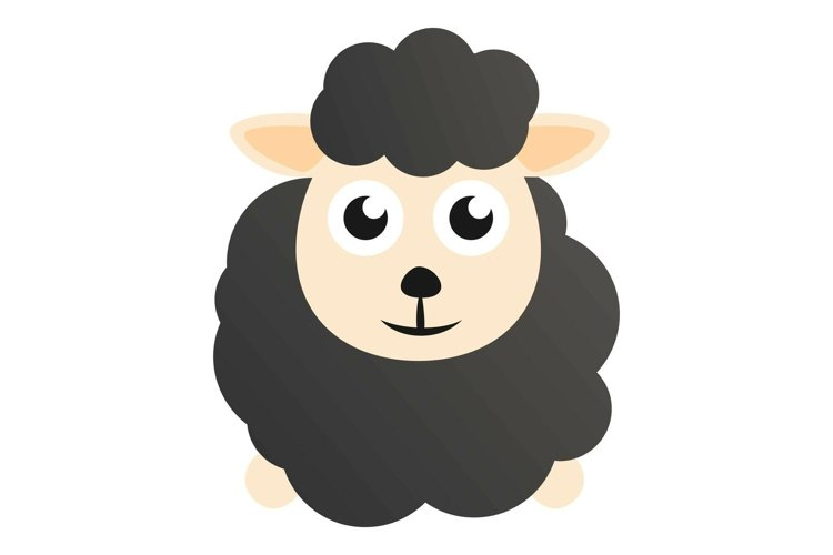 Kid black sheep icon, cartoon style example image 1