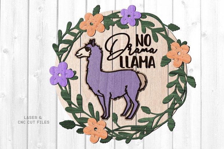 Llama Floral Shiplap Round Sign SVG Glowforge Laser Files example image 1