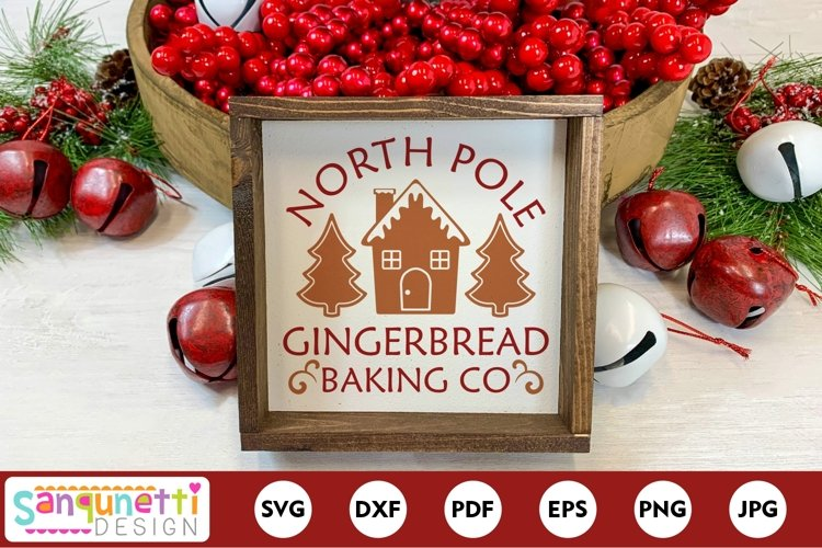 North Pole Gingerbread Christmas Baking SVG example image 1