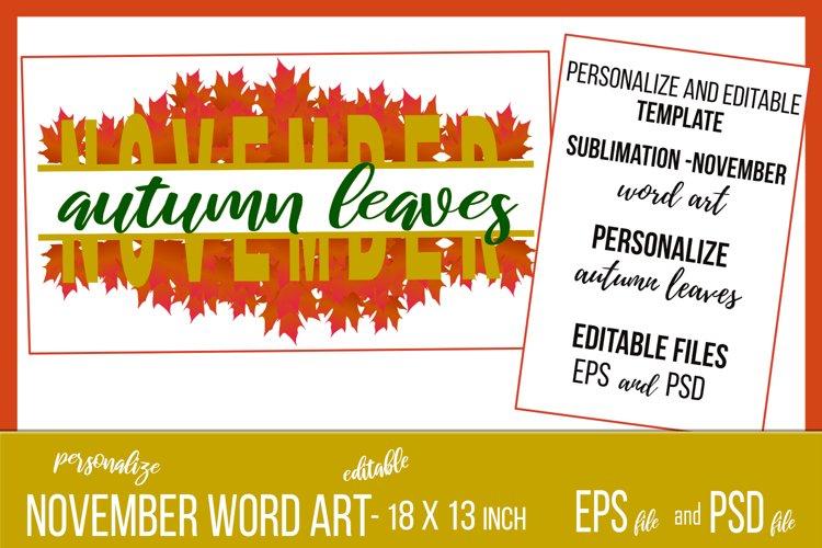 November Wordart Template Oak Leaves Banner - eps & psd