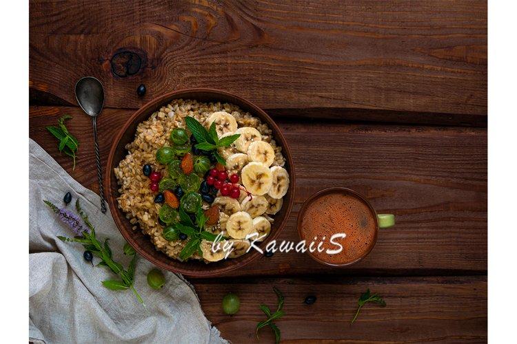 Wholegrain Oatmeal porridge bowl berries coffee copy space