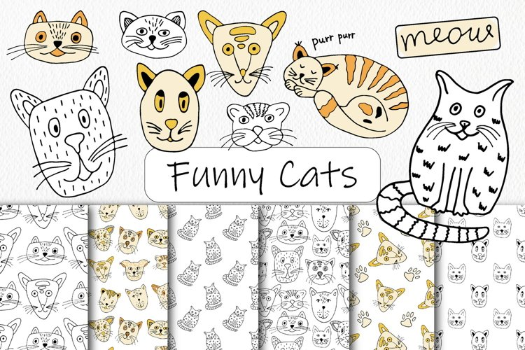 Funny Cats Doodles Clipart & Seamless Patterns - Line Art