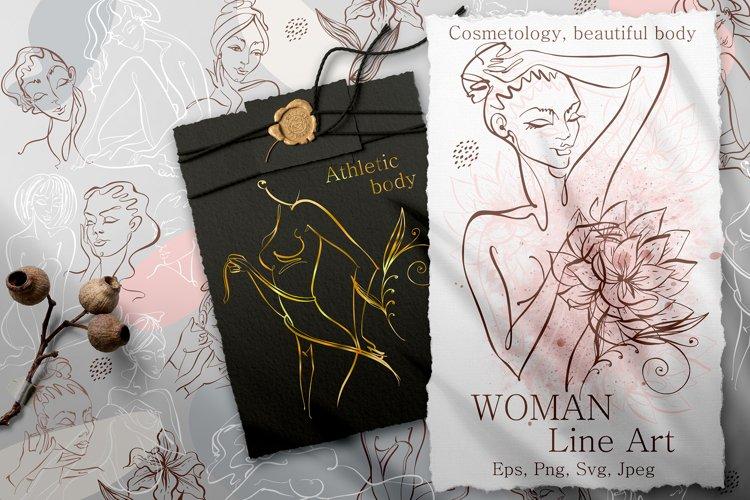 Woman line art digital clipart PNG SVG. Beauty logo.