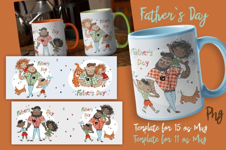 Fathers Day Sublimation Mug Wrap Template. Daddys Mug Png