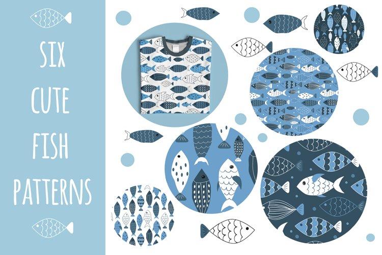 six cute sea fish patterns