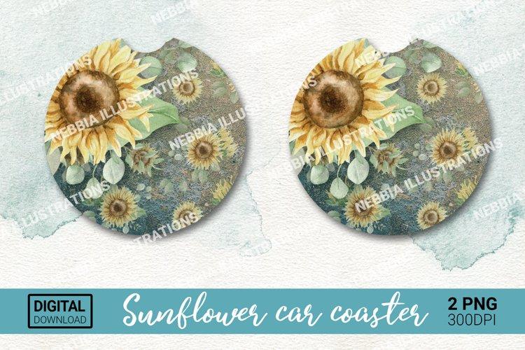 Car coaster design. Keychain sublimation. Sunflower png